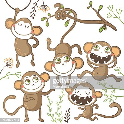 Set of funny hand drawn monkeys, : Vector Art
