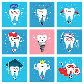 Set of funny icons of teeth. Vector illustration. Concept of children's dentistry. Excellent dental card. Cute character. Caries prevention.