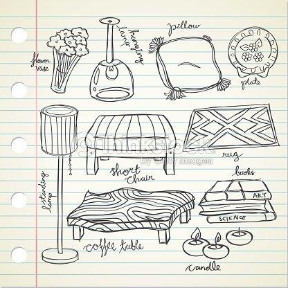 Set di disegni di mobili arte vettoriale thinkstock for Disegni di mobili aspen