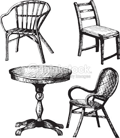 Conjunto de muebles ilustraci n de dibujo a mano de mesa for Mesas de dibujo baratas