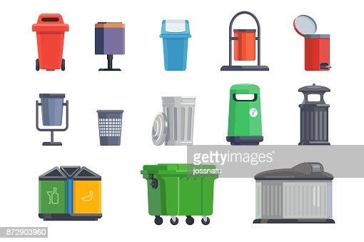 Set of garbage cans for home and street : stock vector