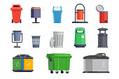 Set of garbage cans for home and street isolated on white background. Vector illustration