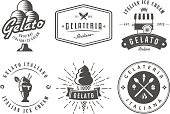 Set of gelato badges. Vector italian ice cream labels. Retro s for cafeteria or bar.