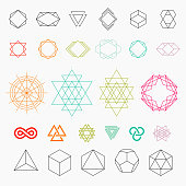 Hexagons, shapes, logos. Line art, vector illustration EPS 10
