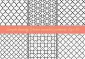 Set of geometric seamless patterns in Oriental style. Lattice, quatrefoil, tiles. Black on white, easy to re-color. Moroccan, arabic, traditional geometric backgrounds.