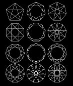 Set of geometric shapes. Sacred Geometry. lines crossing the polygon inscribed in a circle. Black lines on a white background. Outline Mandala frames. Crystal form. Vector illustrations.