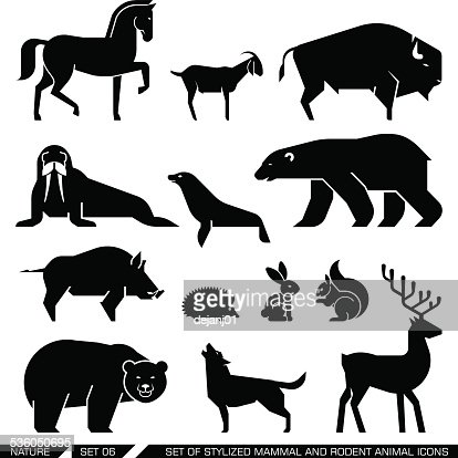 Number 10 pictures images and stock photos istock - Set Of Geometrically Stylized Mammal And Rodent Animal
