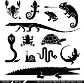 Set of various animal icons: scorpions, snakes, frogs, lizards, snails, crocodiles, turtles, cobra, chameleon, gecko. Vector illustration.