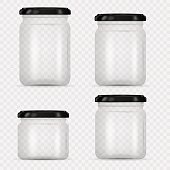 Set of Glass Jars for canning and preserving. Vector Illustration isolated on transparent background.Empty transparent glass jar with screw cap. Round Shape Glass Canister. Eps 10.
