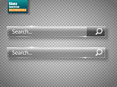 Set of glass search bars isolated on transparent background. Vector template for websites