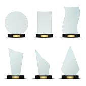Set of glass trophy award. Vector illustration isolated on white background.
