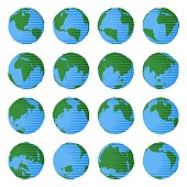 Set of globe icons with different countries and oceans in simple flat cartoon style as concept of travel geography