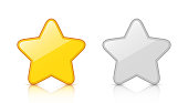 Set of glossy golden & silver star icons with reflection isolated on white background. Vector EPS10