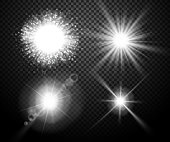 Set of glowing lights effects isolated on transparent background. Special effects with transparency. Glowing lights, lens flares, rays, stars, sparkles and bokeh collection. Vector illustration