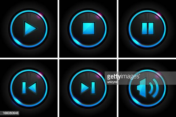 Set of glowing player buttons in six grids