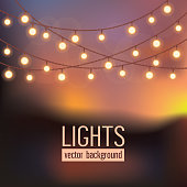 on abstract evening sky background.Set of glowing string lights on abstract evening sky background. Vector illustration