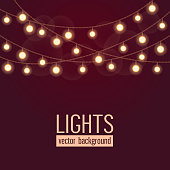 Set of glowing string lights on dark red background. Vector illustration.