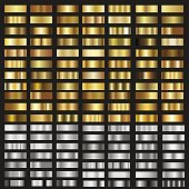 Set of gold and silver gradient textures. Vector.