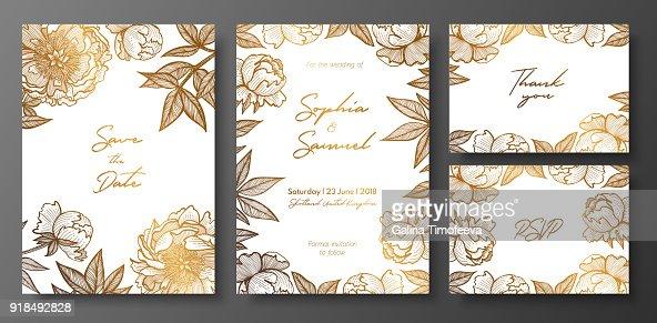 Satz Von Gold Und Weissem Hochzeitskarten Mit Pfingstrosen Floral