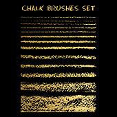 Set of gold chalk brushes. Vector lines with chalk texture.  Grunge lines on blackboard texture. Chalk strokes. Chalk brush border. Vector illustration.
