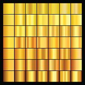 Set of gold gradients. Collection of gold backgrounds. Vector illustration.