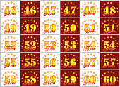 Set of gold numbers from 46 to 60 and the word of the year decorated with a circle of stars. Vector illustration. Translated from Russian - Years