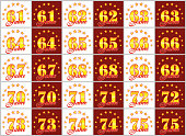 Set of gold numbers from 61 to 75 and the word of the year decorated with a circle of stars. Vector illustration. Translated from German - Years