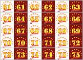 Set of gold numbers from 61 to 75 and the word of the year decorated with a circle of stars. Vector illustration