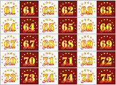 Set of gold numbers from 61 to 75 and the word of the year decorated with a circle of stars. Vector illustration. Translated from Spanish - Years