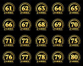 Set of gold numbers from 61 to 80 and the word of the year decorated with a circle of stars. Vector illustration. Translated from German - Years