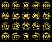 Set of gold numbers from 61 to 80 and the word of the year decorated with a circle of stars. Vector illustration.