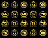 Set of gold numbers from 61 to 80 and the word of the year decorated with a circle of stars. Vector illustration. Translated from Spanish - Years