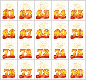 Set of gold numbers from 61 to 80 and the word of the year on the background of a red ribbon. Vector illustration.
