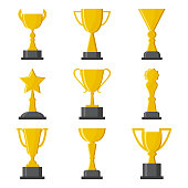 Set of golden cups award. Vector illustration
