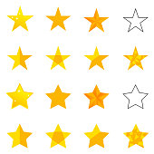 A set of golden stars. Flat design, vector illustration, vector.