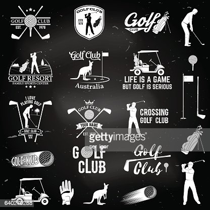 Set Of Golf Club Concept With Golfer Silhouette Vektorgrafik