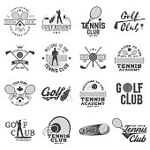 Set of Golf club, Tennis club concept with golfer and tennis player silhouette. Vector golfing and tennis club retro badge. Concept for shirt, print, seal or stamp. Typography design