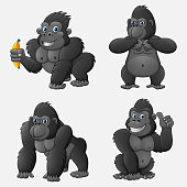 Vector illustration of Set of gorilla cartoon with different poses and expressions