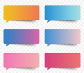Set of gradient color speech and thought sticker messages, tags conversation element for design. Modern vector illustration