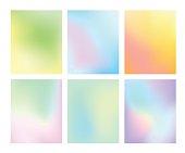 set of gradient pastel vector background