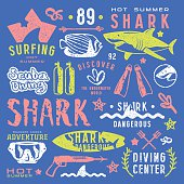 Set of graphic elements. Scuba diving, surfing, shark. Color print on blue background