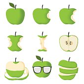 Set of Green apple isolated on white background vector illustration