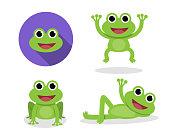 Set of green frog in cartoon style, vector design