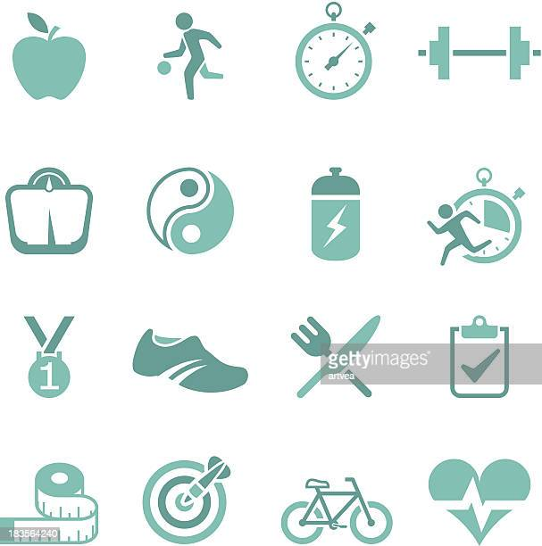 A set of green icons representing a healthy lifestyle