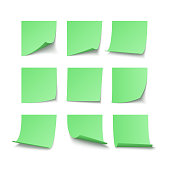 Set of green stuck stickers with space for text or message. Vector illustration isolated on white background