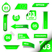 Set of green vector progress step icons, version, labels, stamps, stickers, corners, tags - vector