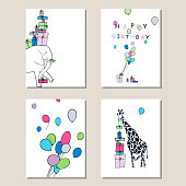 Set of greeting cards with a giraffe, an elephant, gifts and balloons.