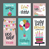Set of greetings cards. Invitation for birthday party. Vector design template with hand writings words. Invitation typography birthday celebration illustration