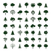 Set of Grey Trees. Vector symbol and icon. Graphic element.