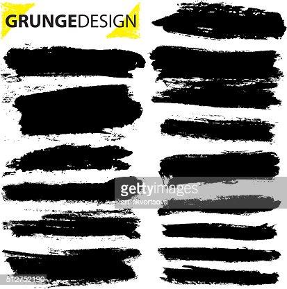 Set of grunge brush strokes : stock vector